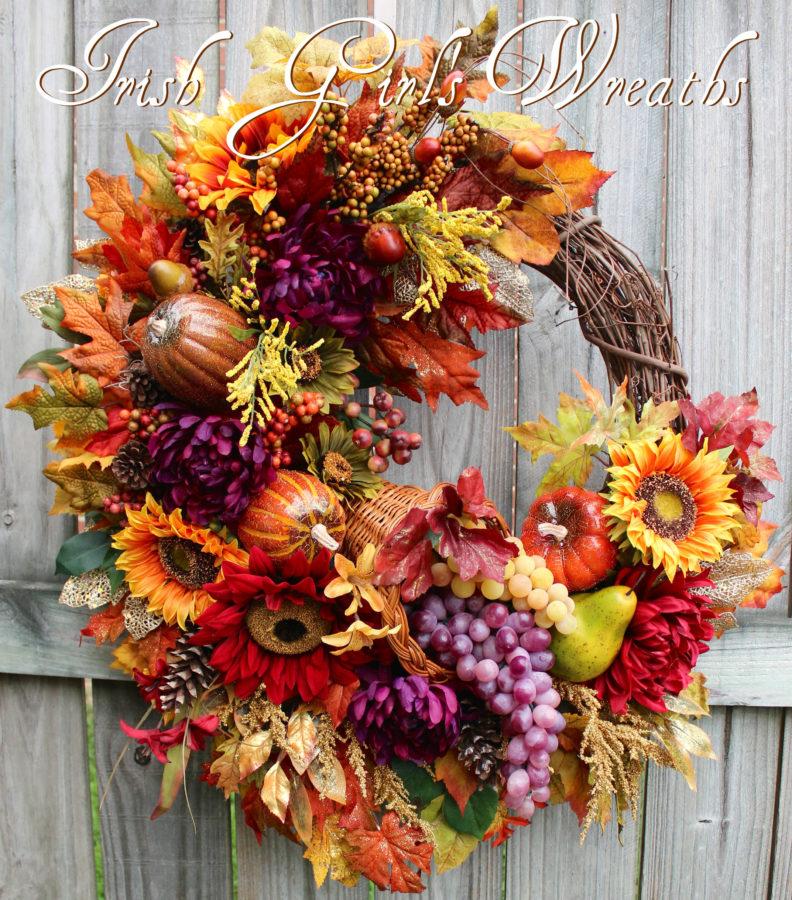 Deluxe Elegant Harvest Cornucopia Wreath