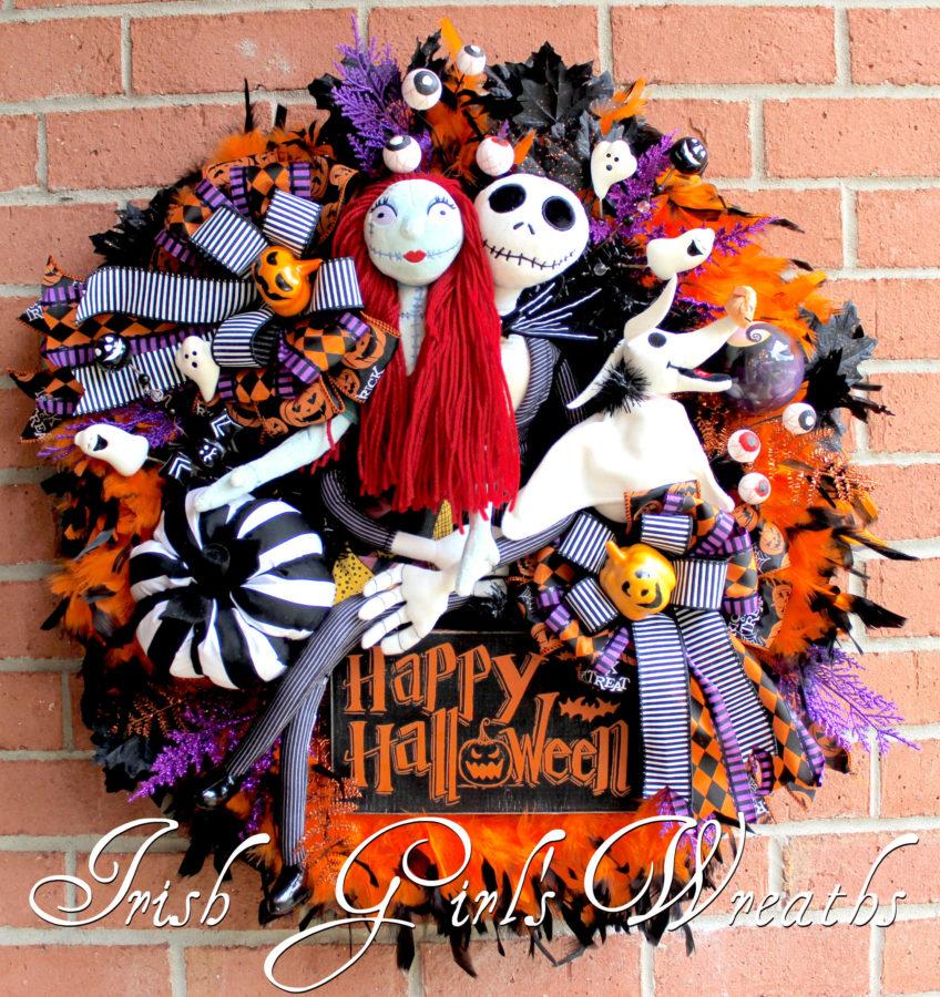 Deluxe Nightmare Before Christmas Halloween Wreath, Large Pumpkin King Wreath