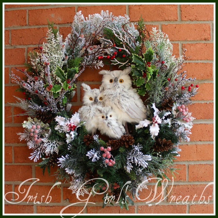 Custom Winter Gray Owl Family Wreath for Gail- $209 PLUS $24 SHIPPING- SOLD