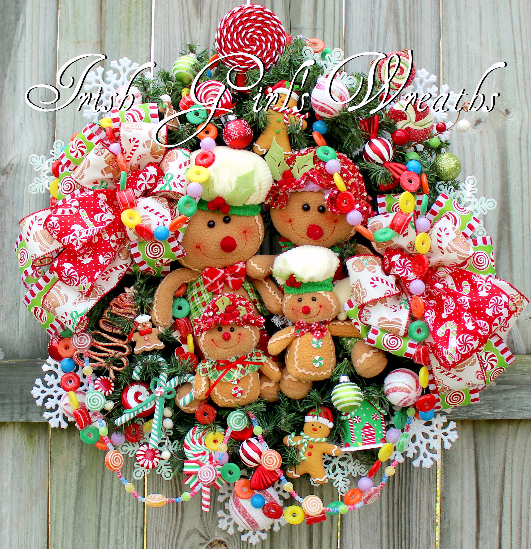 gingerbread candy cane christmas wreath bow available in 2 sizes christmas gift ideas 2018