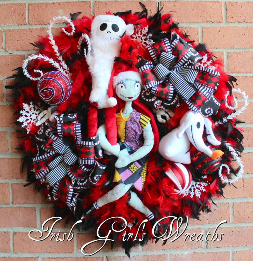 Jack Skellington & Sally, and Zero Christmas Wreath