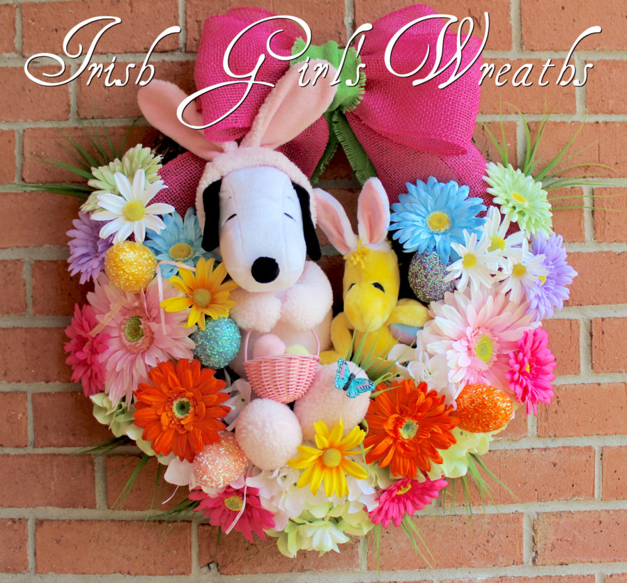 Easter Beagle Snoopy and Woodstock Easter Wreath