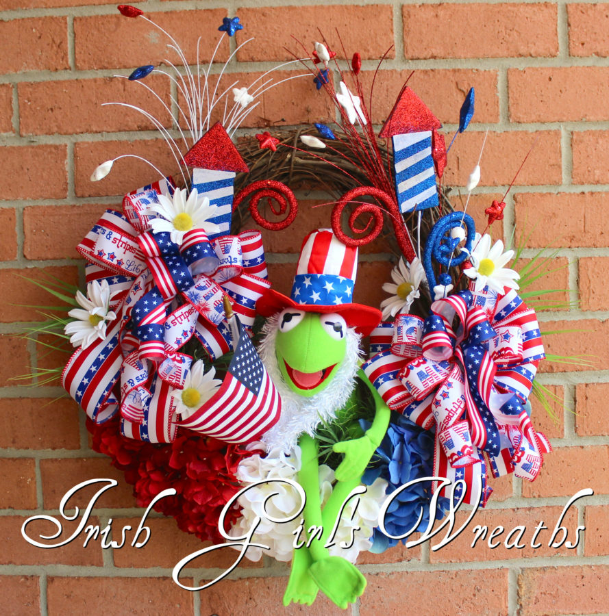 Kermit the Frog Muppet Patriotic Wreath