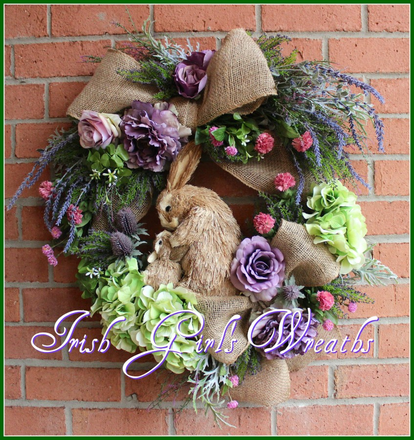 Lavender Spring Mother & Baby Bunnies Wreath