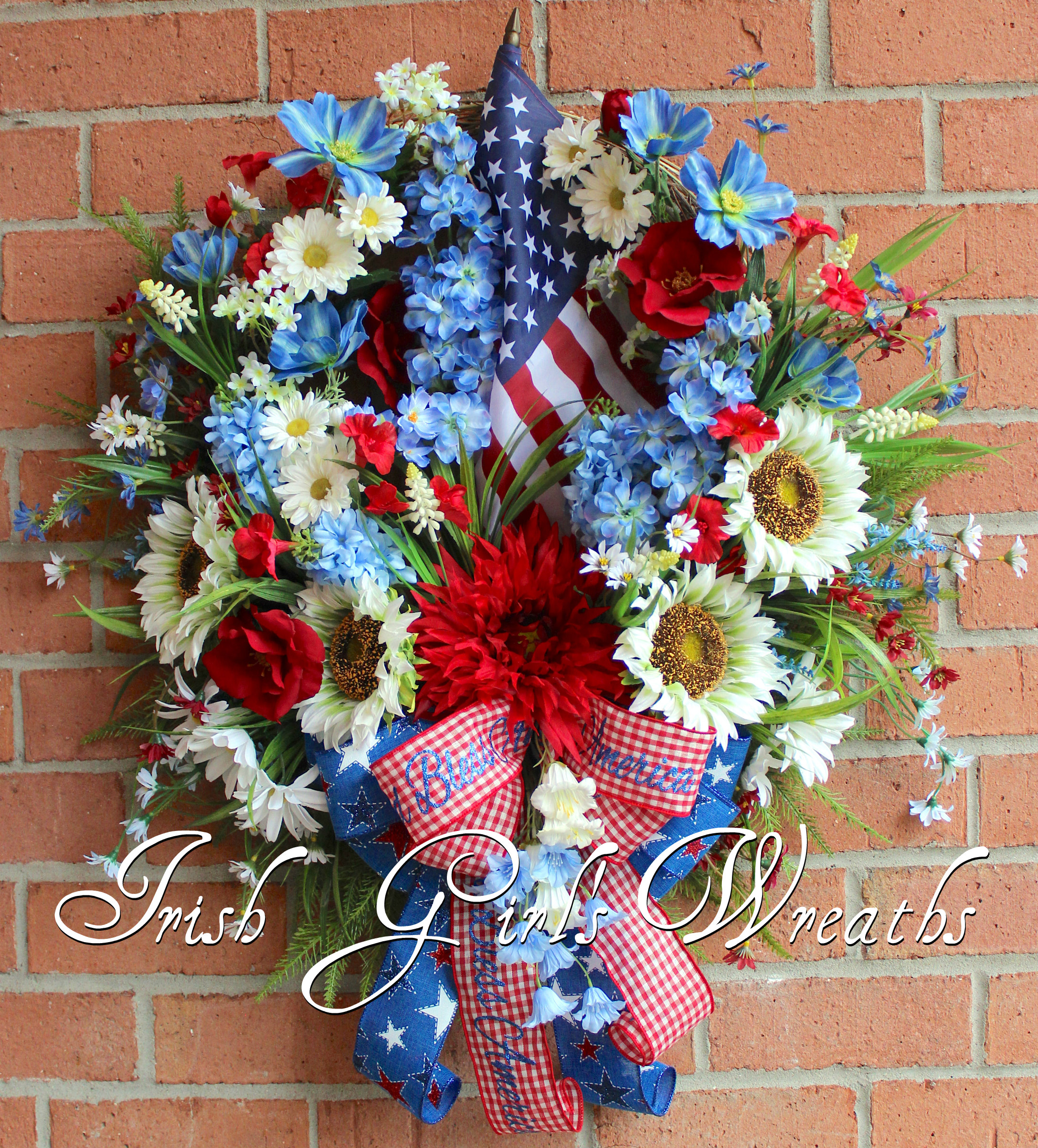 9303f7b017d Patriotic White Sunflower   Wildflowers Wreath