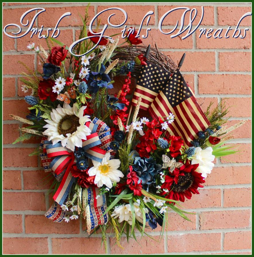 Primitive Poppy Patriotic Wreath