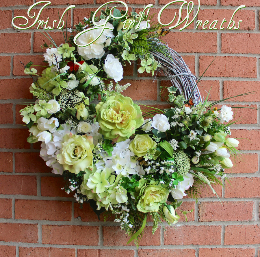 Restful Summer Cottage Rose Garden Wreath