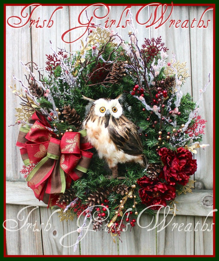 Rustic Burgundy Winter Brown Owl Wreath