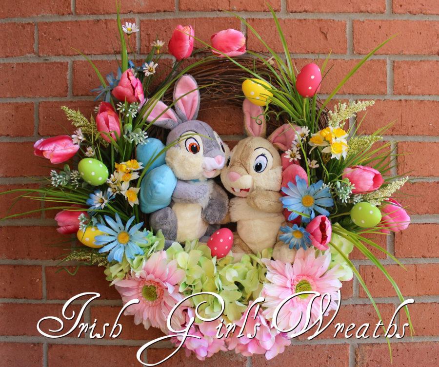 Thumper Easter Wreath, Thumper & Girlfriend Tulip Garden Wreath