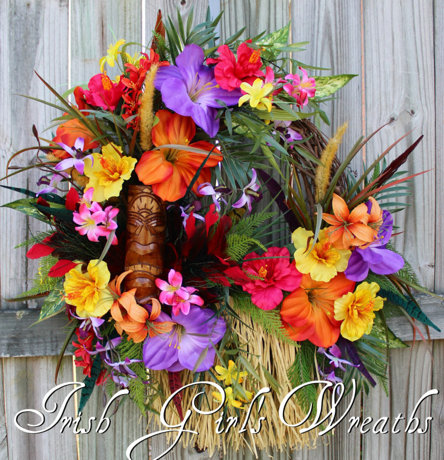 Tiki Island Magic Tropical Wreath, Luau Wreath