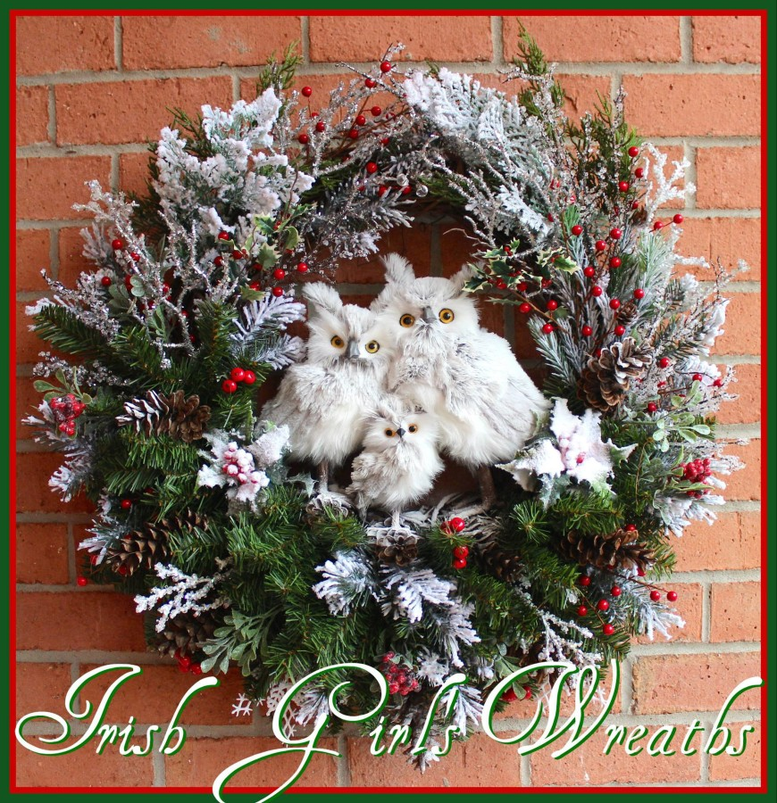Winter Gray Owl Family Wreath for Deborah