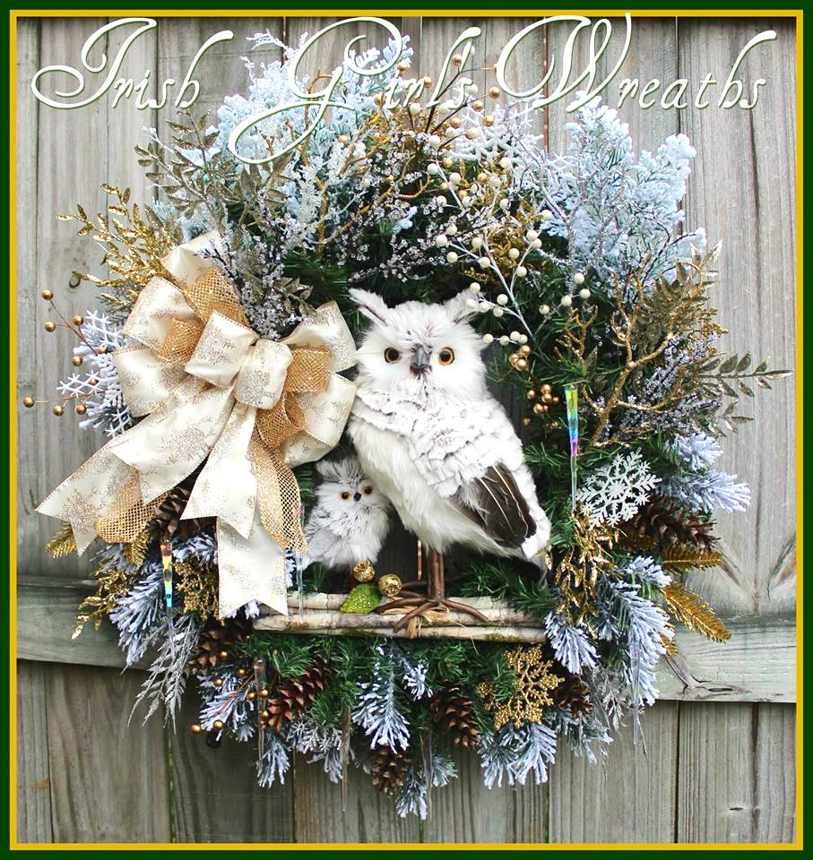 Woodland Winter Owl and baby Silver and Gold Wreath for Stacey