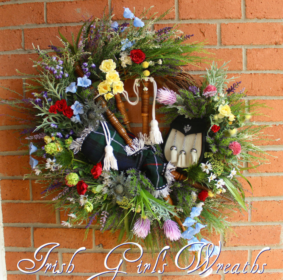 Scottish Bagpipes and Sporran Wildflower Wreath