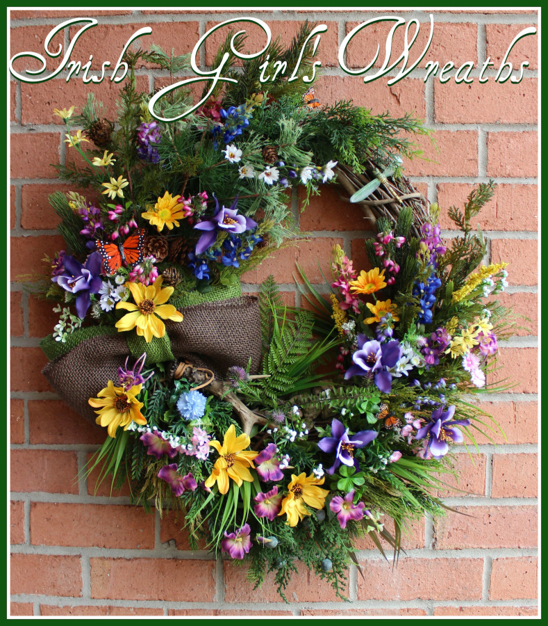 Colorado Wilderness Wildflower Wreath, Rustic Summer or Everyday Wreath