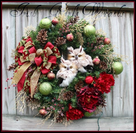 custom burgundy owls wreath