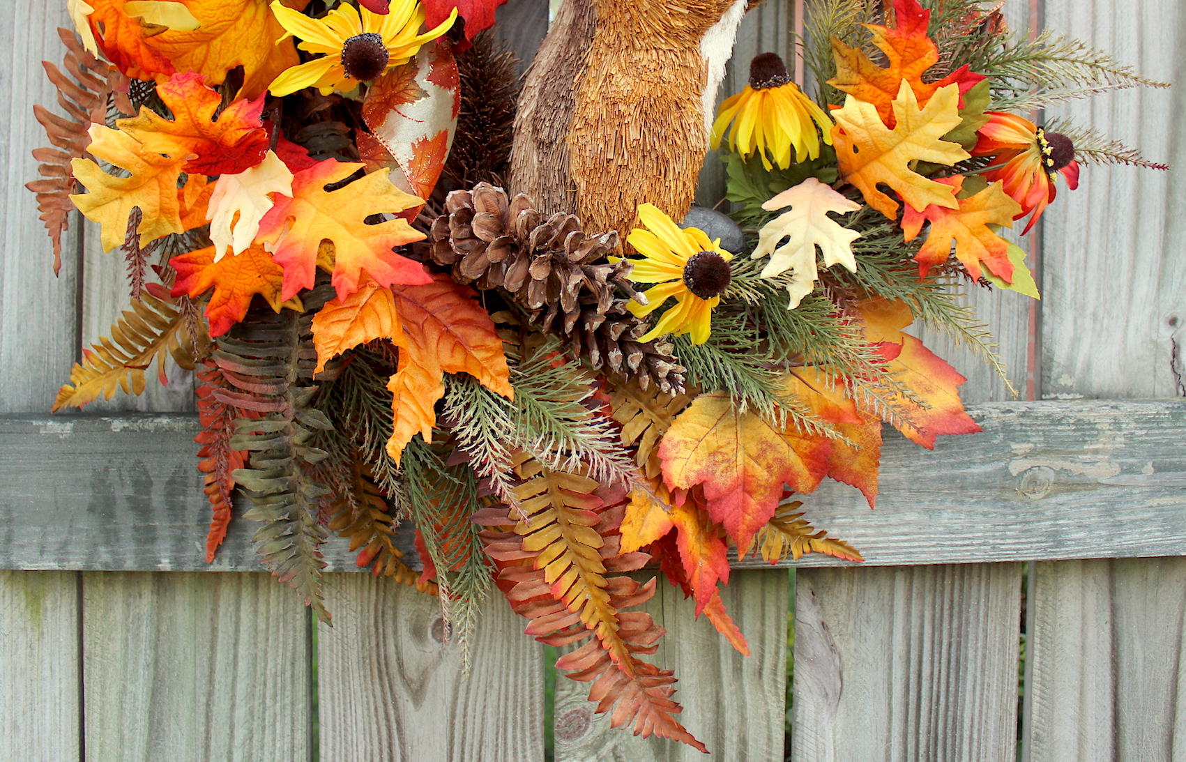 Rustic Fall Floral Chipmunk Wreath