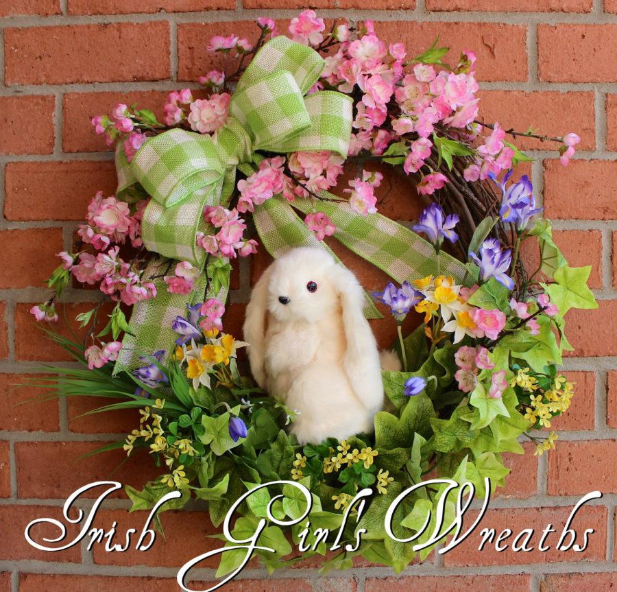 Cherry Blossom Floppy Eared Bunny Wreath