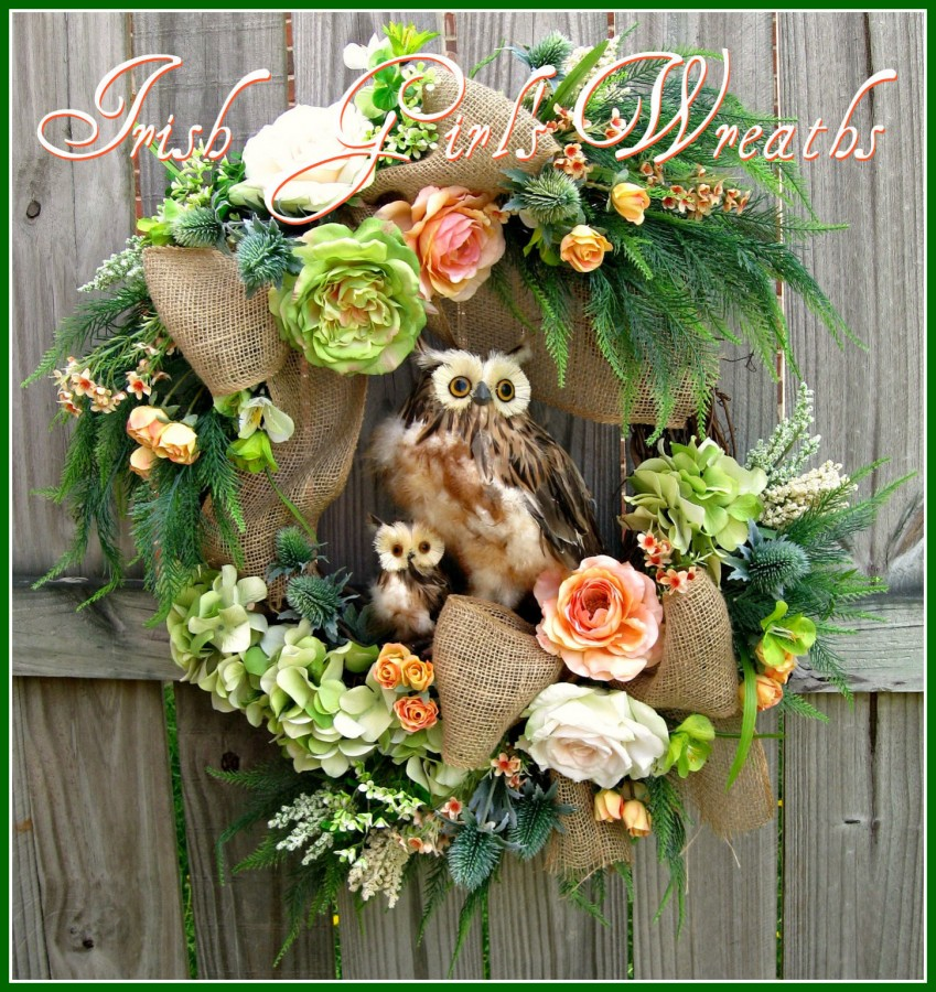 MADE TO ORDER Mother and Baby Spring Owl Wreath, Peach Green, Mother's Day, Summer, owl Family, Rose, burlap, fern