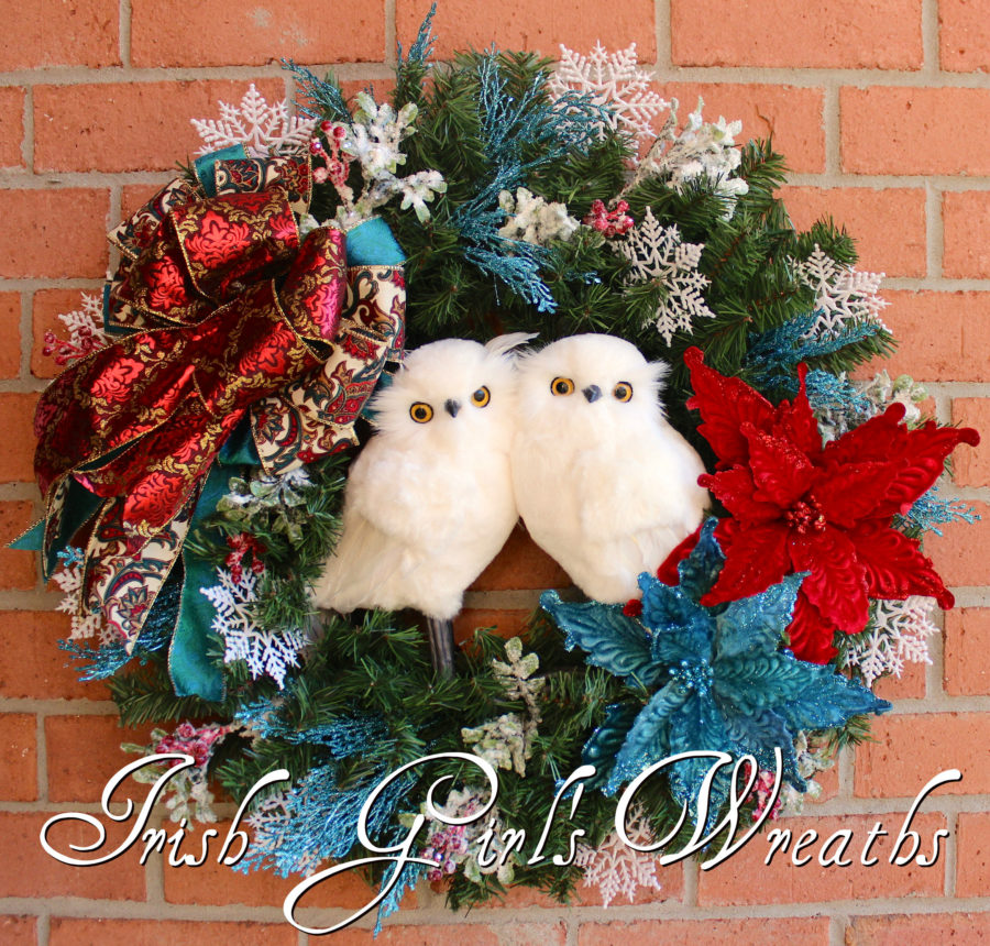 Turquoise and Red Winter Snow Owl Couple Christmas Wreath