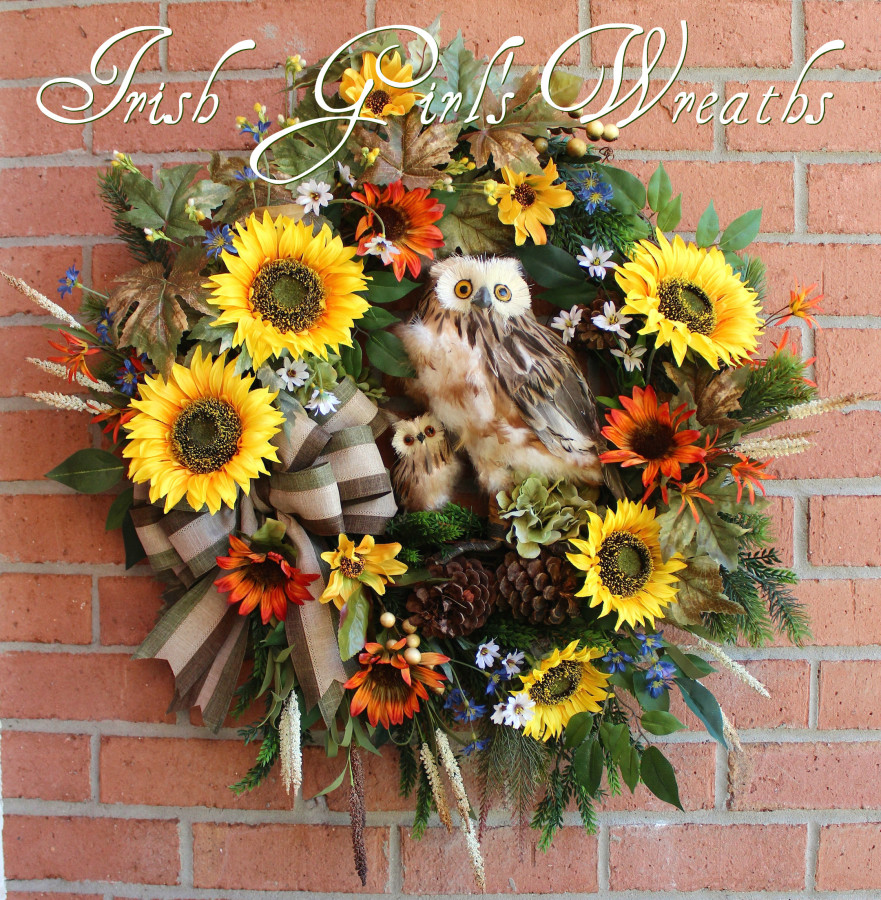 Owl Family Rustic Sunflower Everyday Wreath