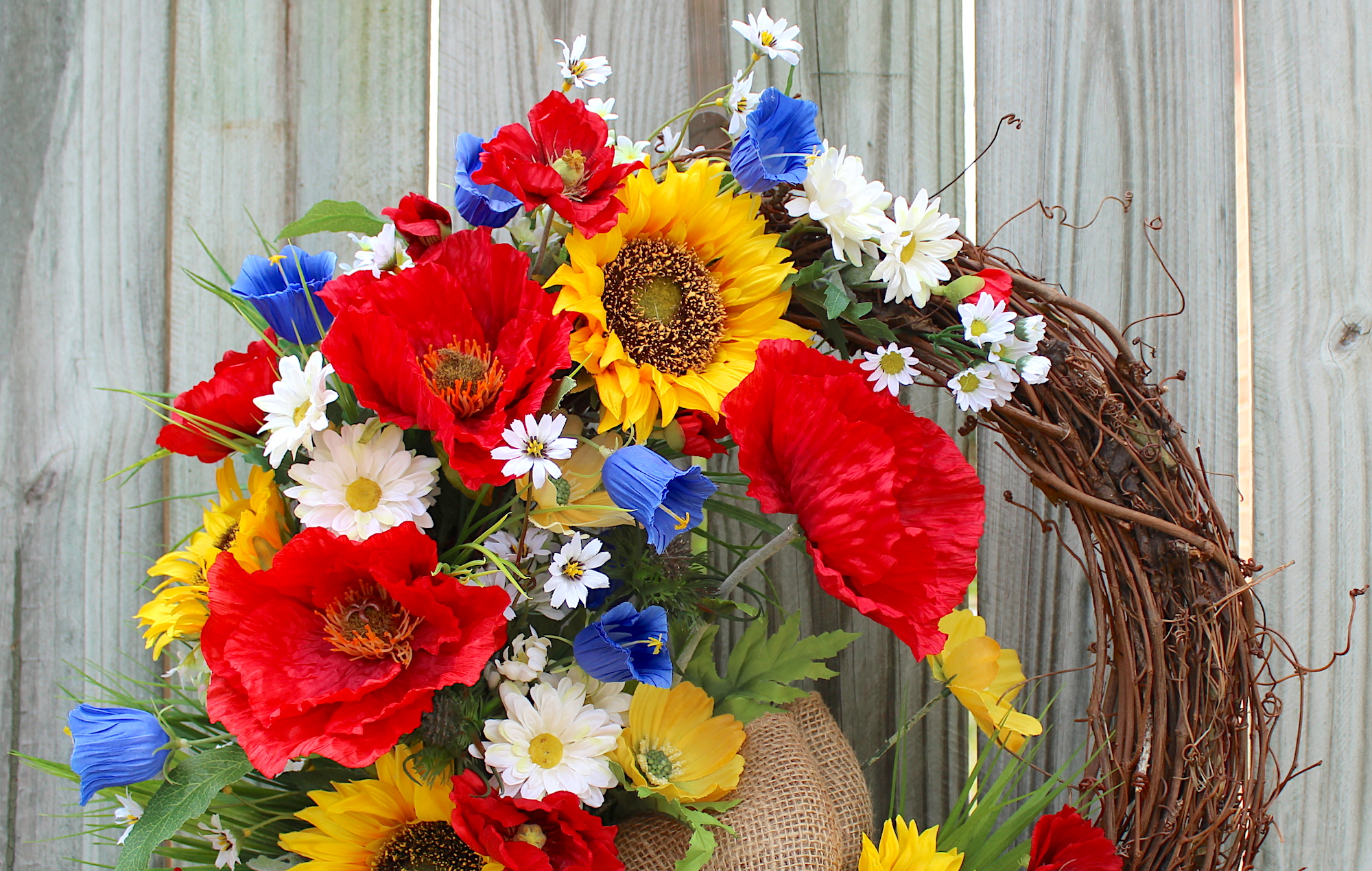 Irish girls wreaths where the difference is in the details wildflower field of italy poppy and sunflower wreath summer italian floral wreath rustic country wreath daisy red white blue mightylinksfo