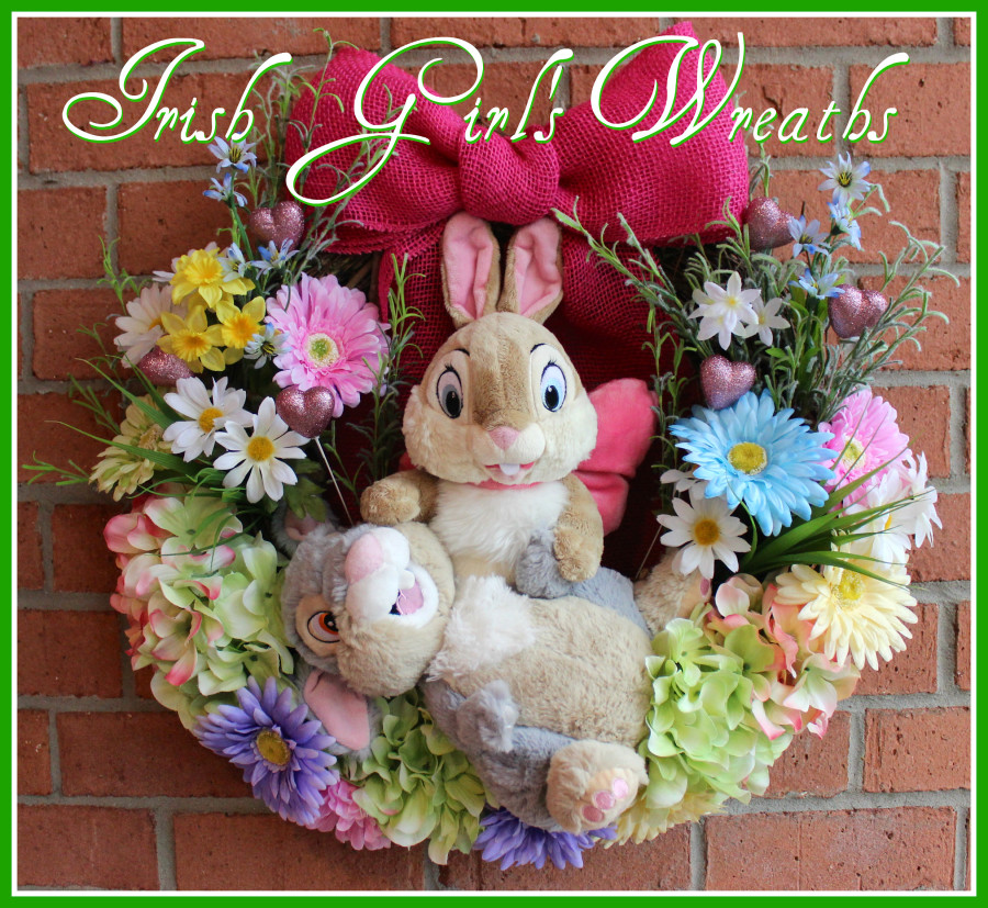 Twitterpated Thumper Bunny Valentines Easter Springtime Wreath