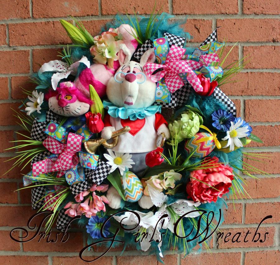 Alice in Wonderland White Rabbit Easter Wreath