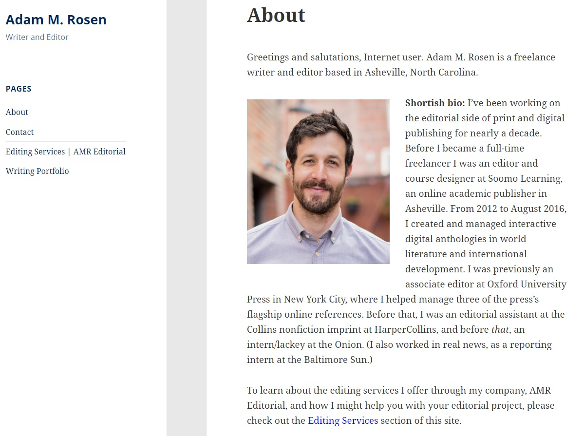 Asheville Website Design for Writer and Editor