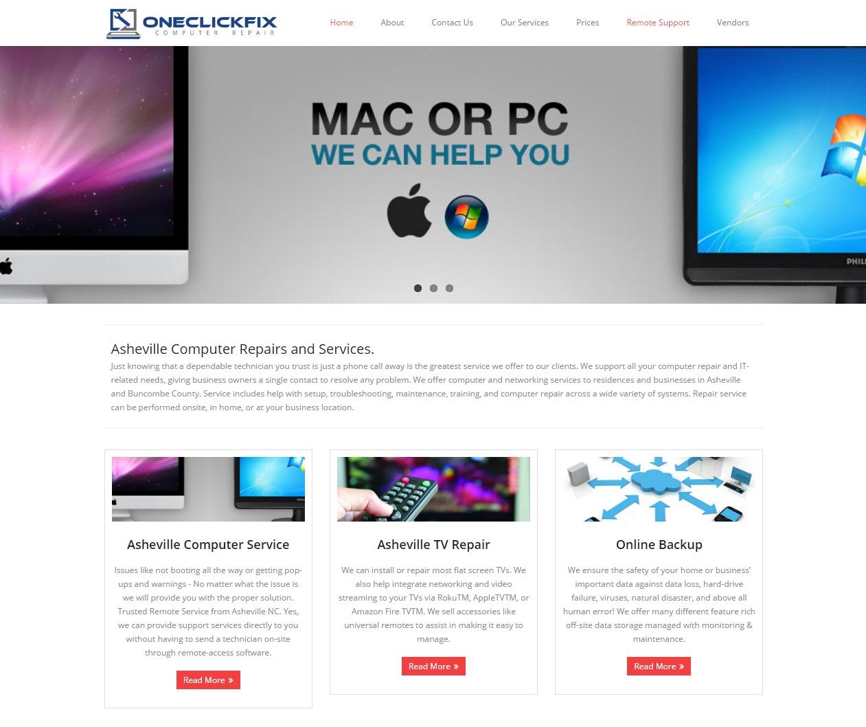 WEBSITE DESIGN One Click Computer Repair