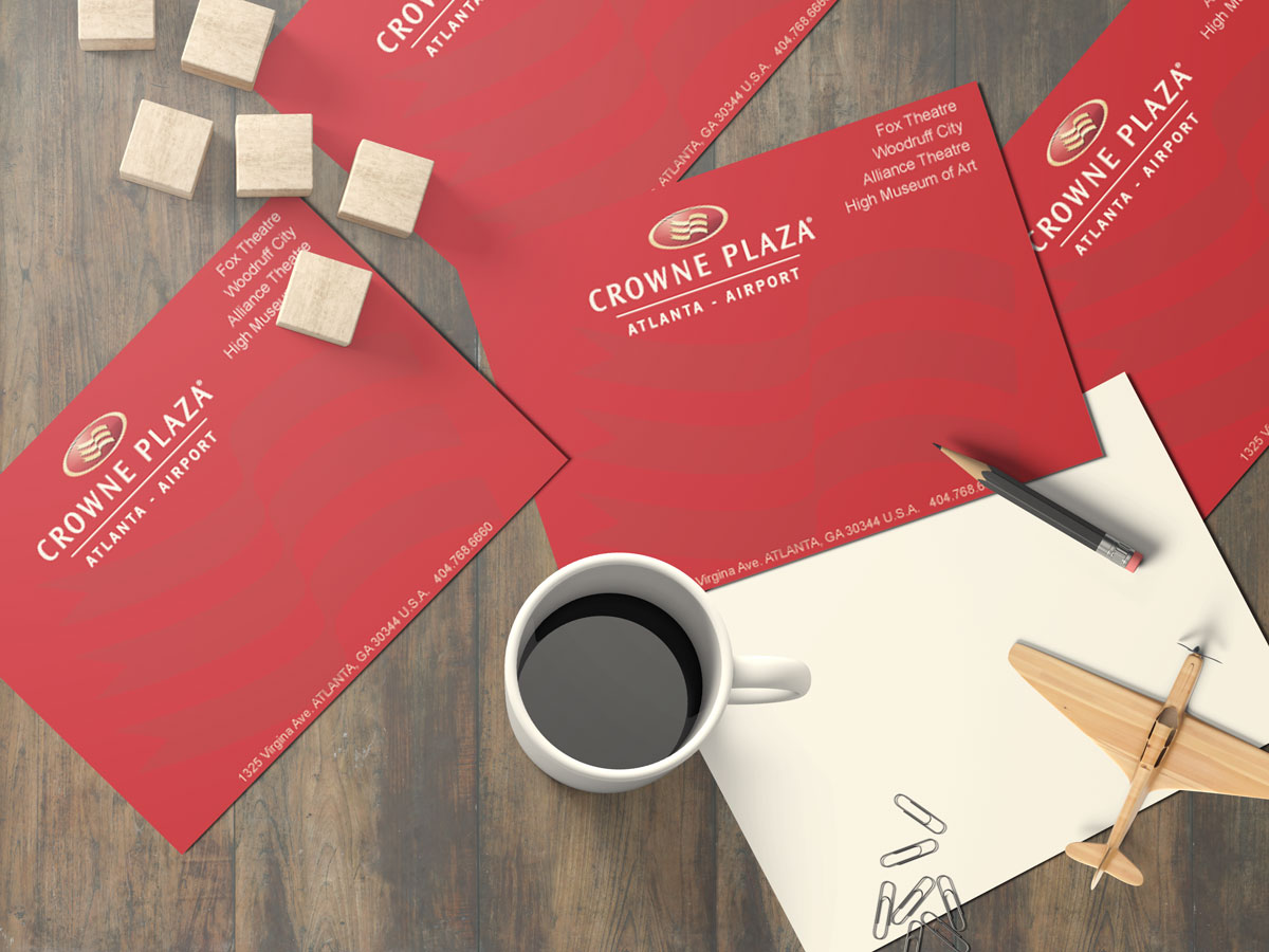 Direct Mail Postcard Design for Crowne Plaza Hotel