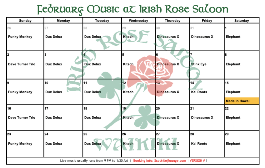 Irish Rose February Music