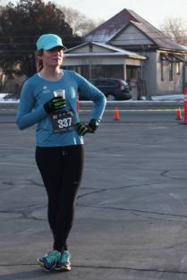 The race photographer caught me stretching - I think?