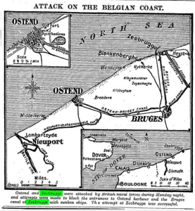 zeebrugge map Attack On The Belgian Coast. Times [London, England] 24 Apr. 1918