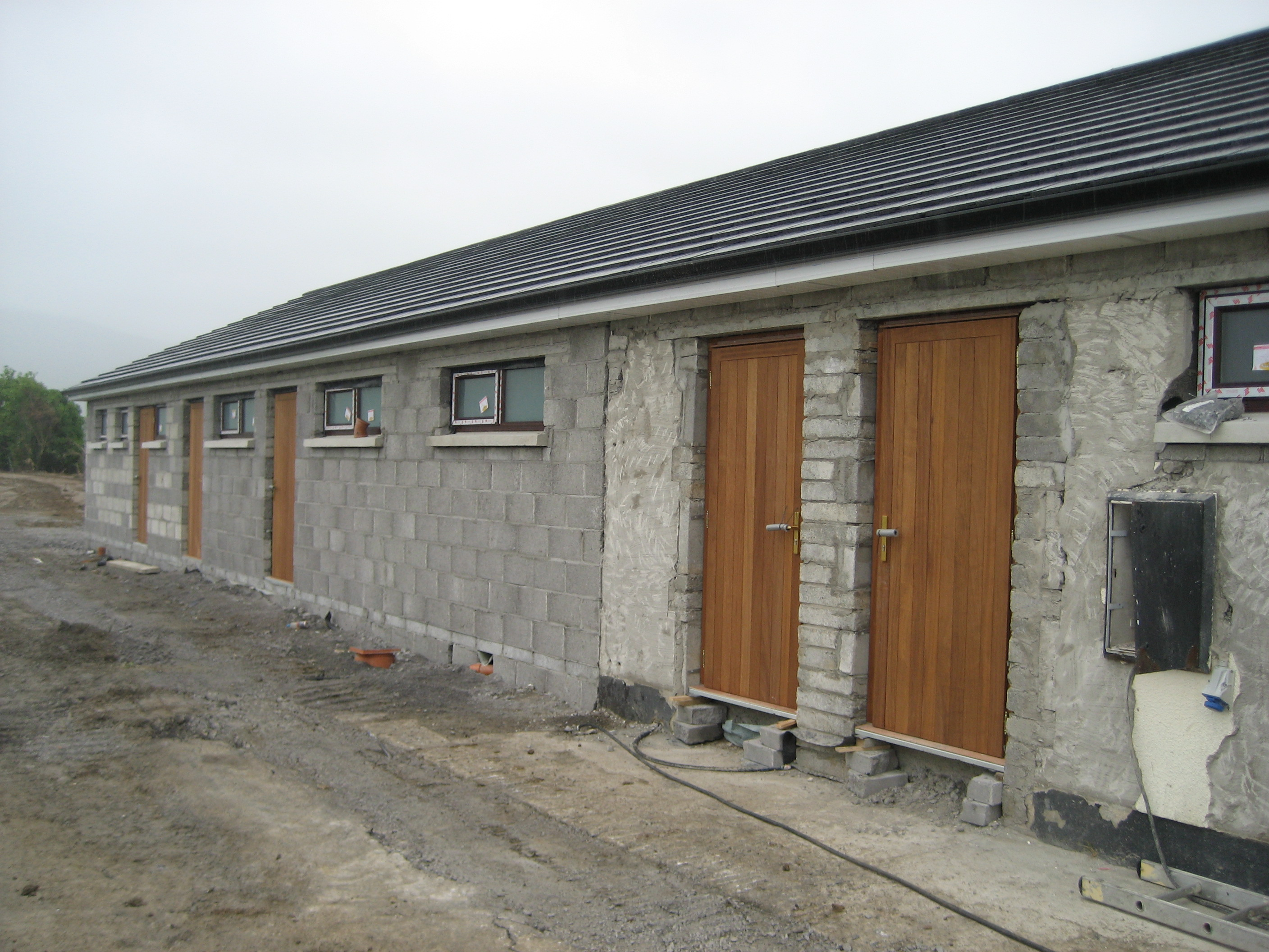 Dressing Rooms with Doors and Windows Installed