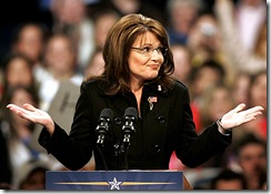 Sarah Palin shrugs during a campaign stop in Johnstown, Pennsylvania, on October 11.