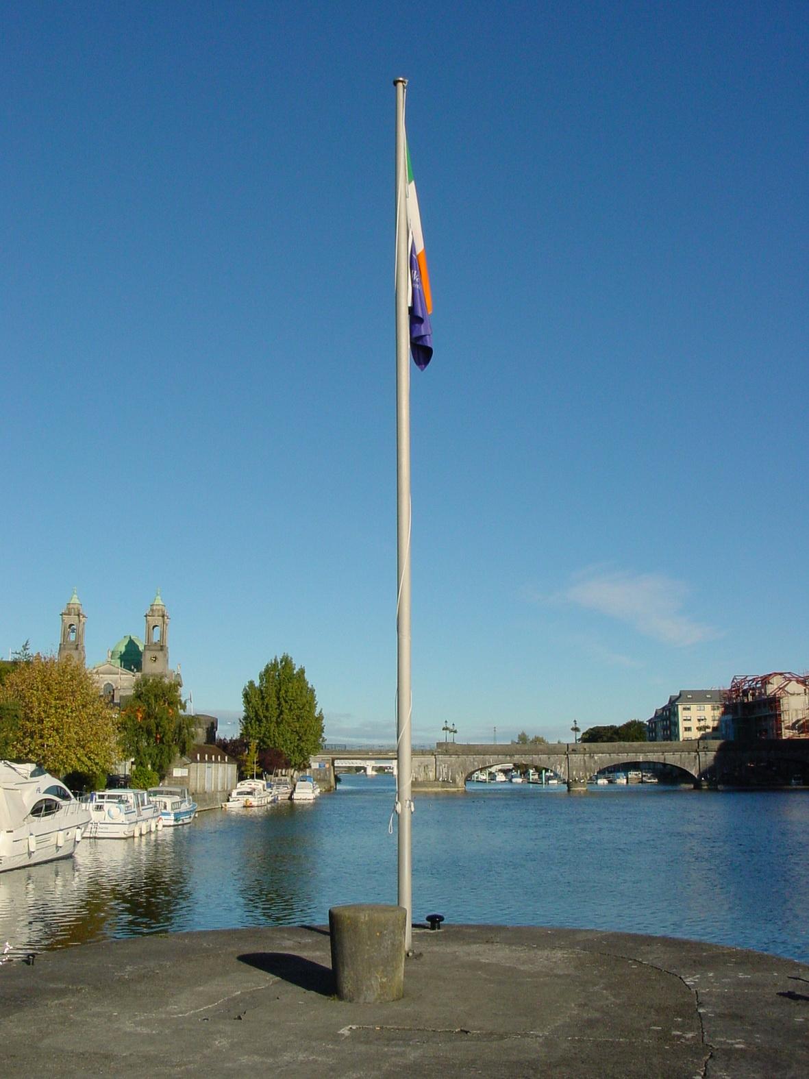 Flagpole on the lock island