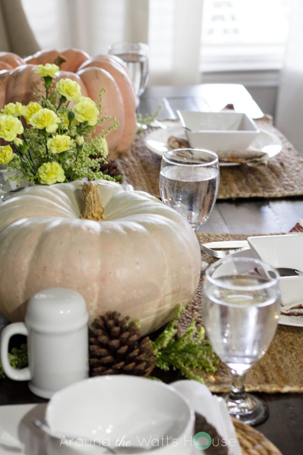 Thanksgiving-Autumn-Fall-Tablescape with Pumpkins, Fresh Flowers, and Pinecones