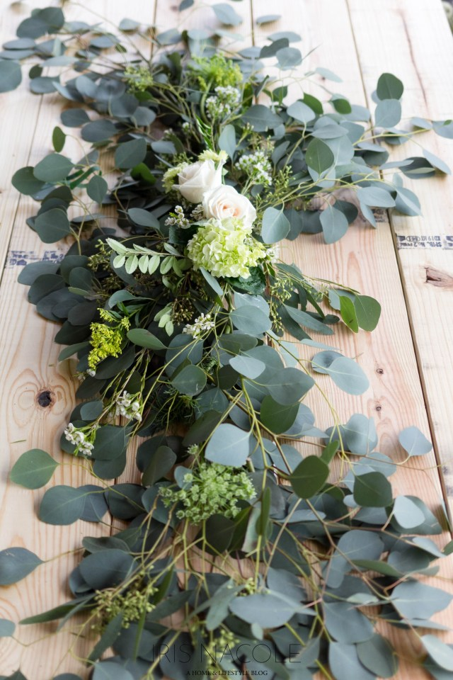 Floral Garland Table Runner/Centerpiece Tutorial by IrisNacole.com