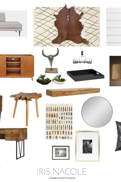Mid Century Modern Rustic Men's Lounge-Mood Board by IrisNacole.com