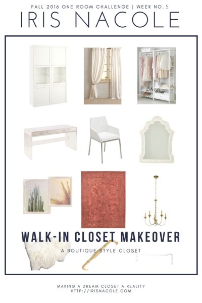 Walk-in Closet Makeover-One Room Challenge-by IrisNacole.com