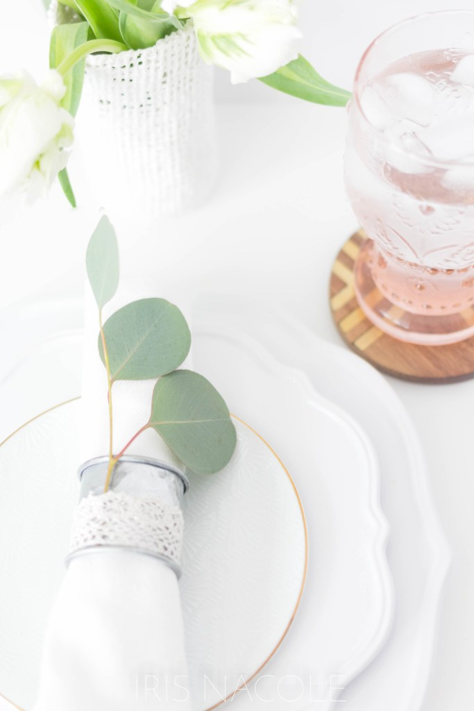 Table Setting Idea Rustic Farmhouse Eucalyptus Napkin Ring Tutorial by Iris Nacole