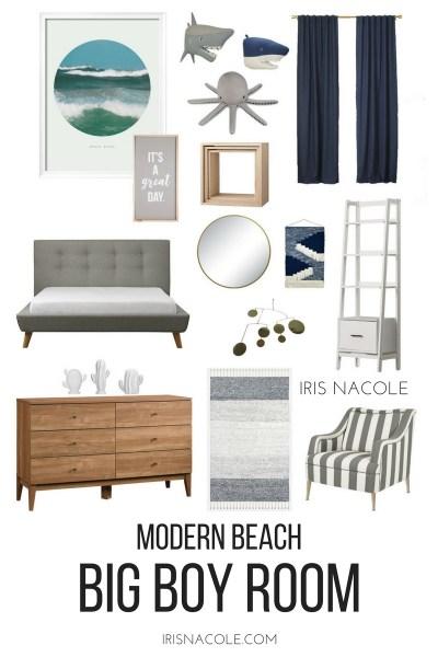 "Modern Beach ""Big Boy"" Bedroom Makeover"