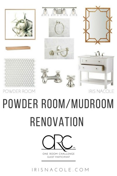 One Room Challenge Powder Room-Mudroom Renovation IrisNacole.com
