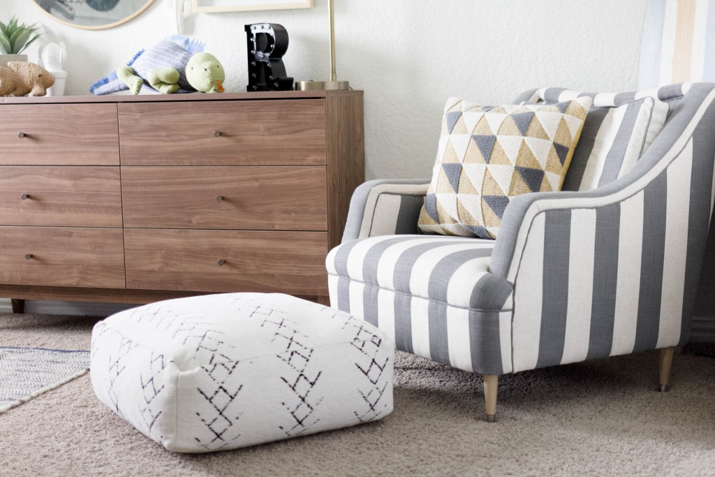 Modern Beach-Big Boy Bedroom-Makeover-Home Makeover-Kids Bedroom Inspiration-Reading Area-Mini Chair-IrisNacole.com