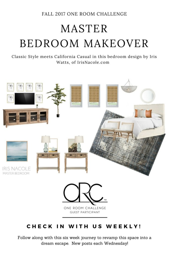 Iris Nacole-Master-Bedroom-Makeover-One Room Challenge-Classic Meets California Casual