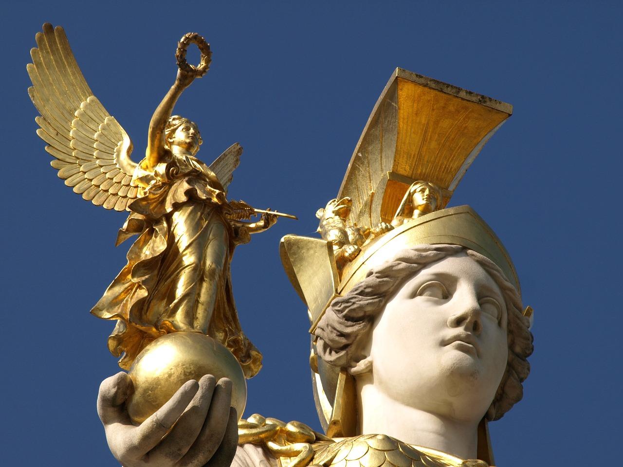 Athena holding Nike