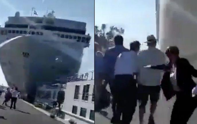 Sceny jak z filmu katastroficznego. Statek wycieczkowy uderzył w łódź turystyczną [WIDEO]