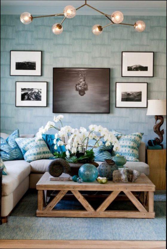 Wohnzimmer deko blau