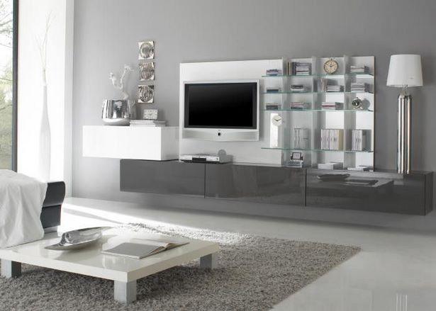 Wohnzimmer Weiss Grau | Wohnzimmer Wohnwand Sismael In Weiß ...