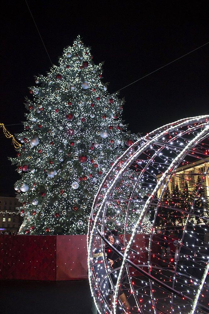 Christmas Fair in Chisinau, Moldova   Christmas tree in the center of Chisinau